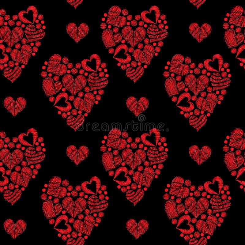 Le modèle sans couture avec peu de broderie de coeur de rouge pique l'imita illustration libre de droits