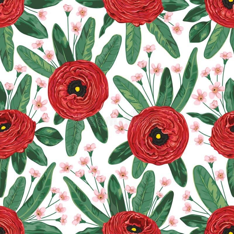Le modèle sans couture avec le ranunculus rouge fleurit, alstroemeria et feuilles de protea Fond floral de vacances décoratives illustration libre de droits