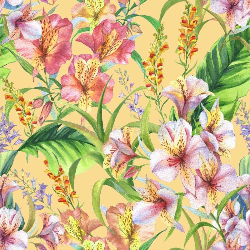 Le modèle sans couture coloré tiré par la main avec la banane d'aquarelle part, les plantes et les fleurs exotiques d'alstroemeri illustration libre de droits