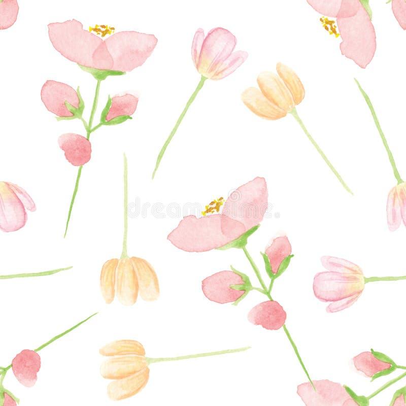 Le modèle sans couture d'aquarelle part de l'été floral rose de ressort de fleurs illustration libre de droits