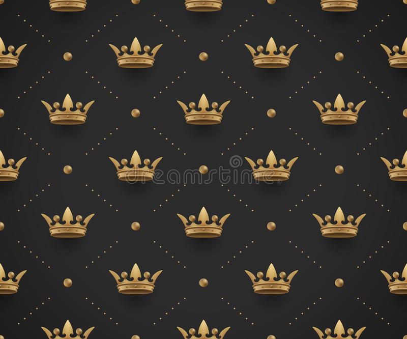 Le modèle sans couture d'or avec le roi couronne sur un fond de noir foncé Illustration de vecteur illustration libre de droits