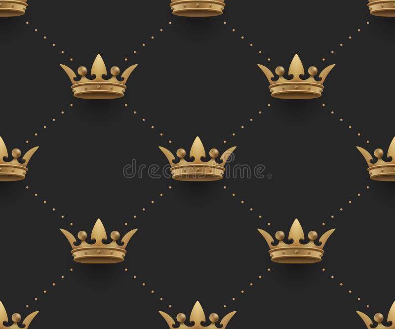 Le modèle sans couture d'or avec le roi couronne sur un fond de noir foncé Illustration de vecteur illustration stock