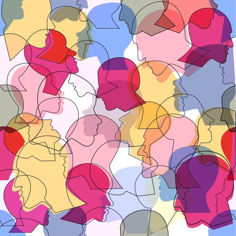 Le modèle sans couture d'une foule de beaucoup de personnes différentes profilent des têtes illustration de vecteur