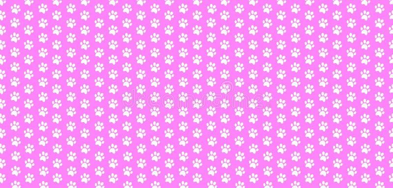 Le modèle sans couture de bébé de rectangle de la patte animale blanche imprime sur le fond rose illustration libre de droits