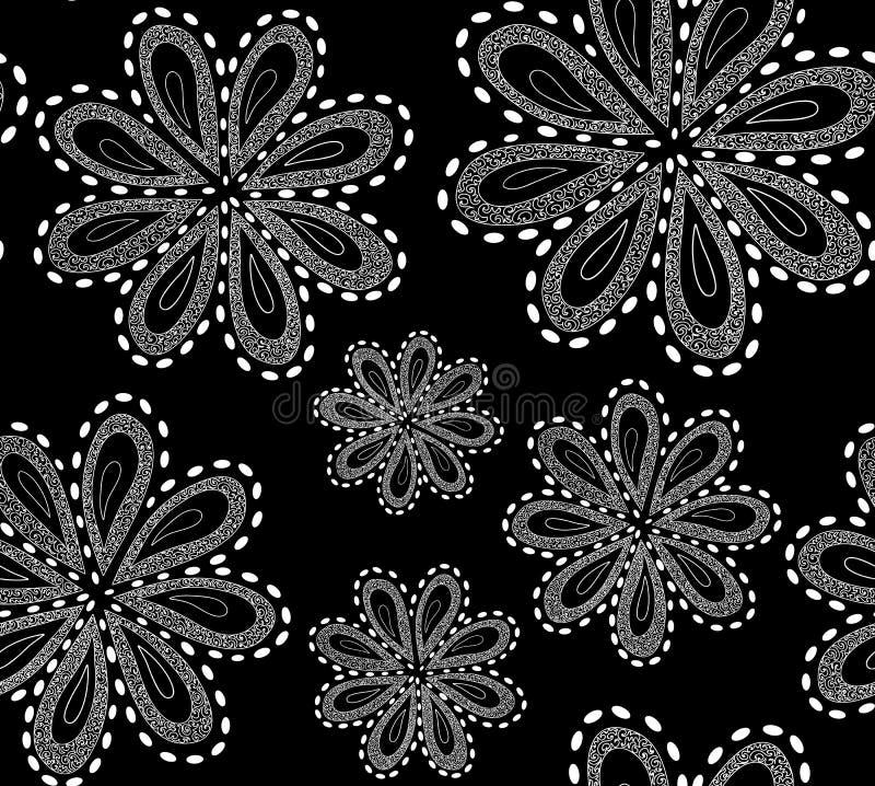 Le modèle sans couture de beau vecteur noir et blanc avec l'ornamental a figuré des fleurs illustration de vecteur