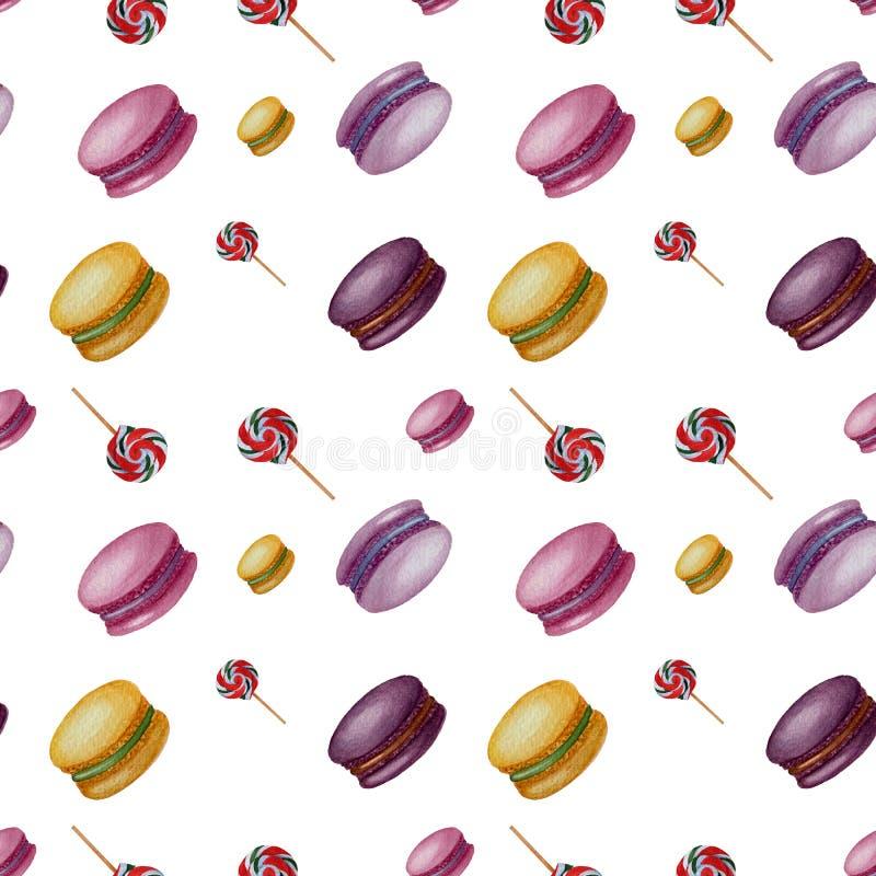 Le modèle sans couture de bonbons à aquarelle a isolé des éléments sur le fond blanc illustration libre de droits