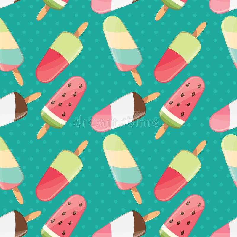 Le modèle sans couture de crème glacée, fond coloré d'été, bonbon délicieux traite illustration stock