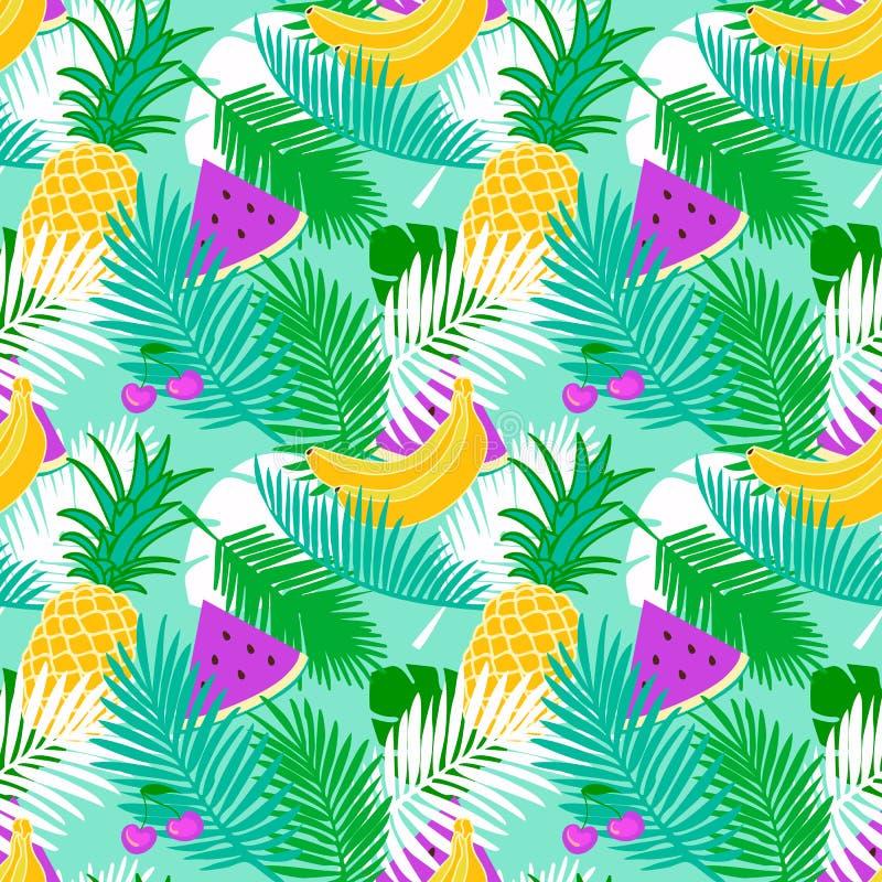 Le modèle sans couture de fruit tropical avec la jungle part du fond floral de couleur en pastel illustration de vecteur