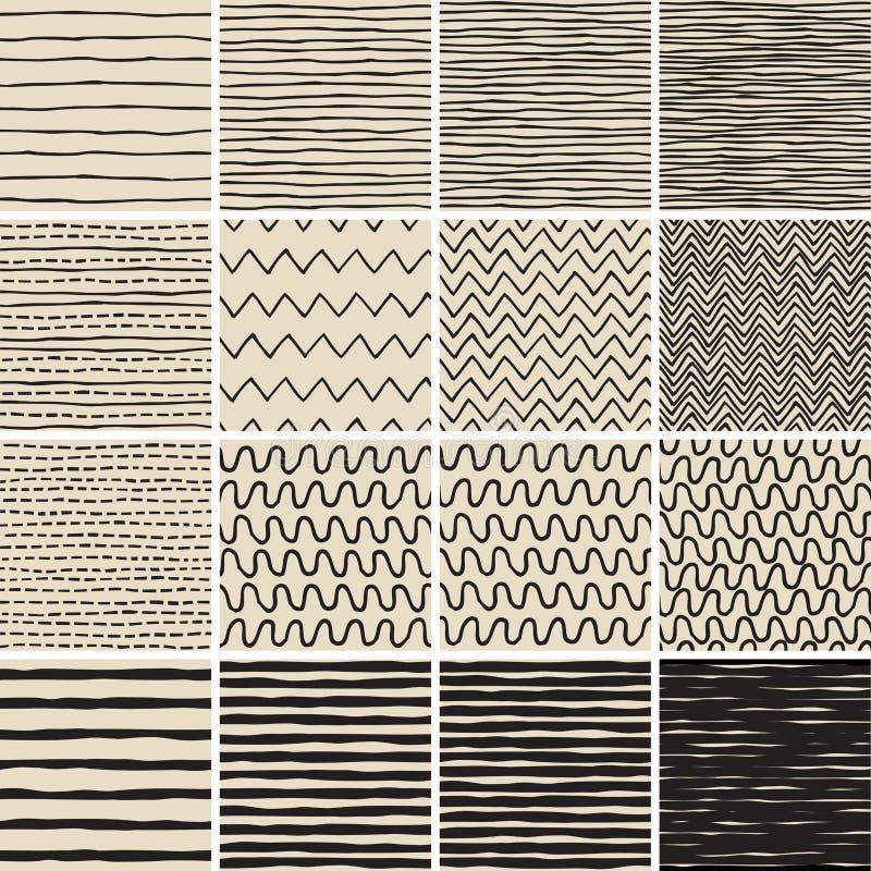Le modèle sans couture de griffonnage de base a placé aucun 6 en noir et blanc illustration libre de droits