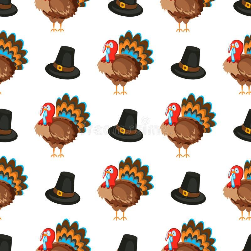Le modèle sans couture de jour heureux de thanksgiving avec le vecteur de vacances objecte illustration de vecteur