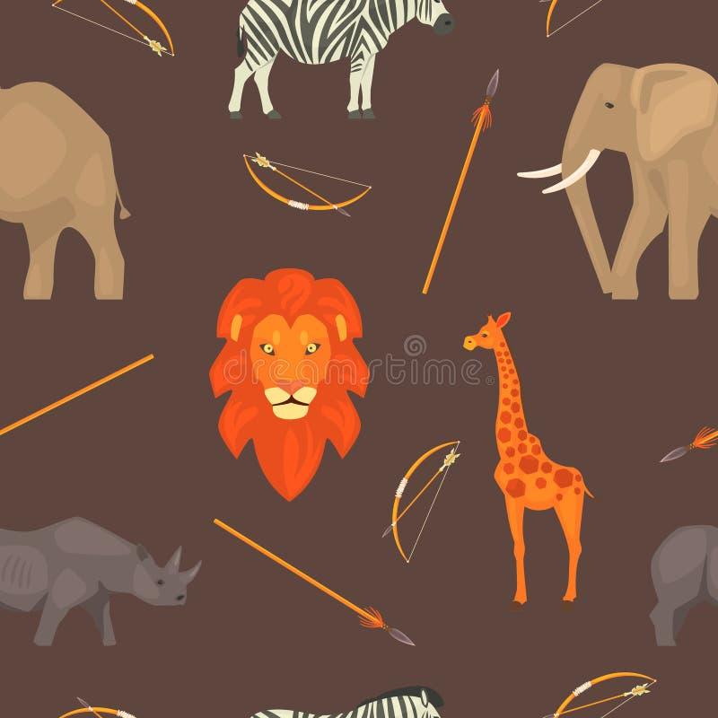 Le modèle sans couture de l'Afrique avec des animaux de jungle, élément de conception peut être employé pour le tissu, papier pei illustration de vecteur