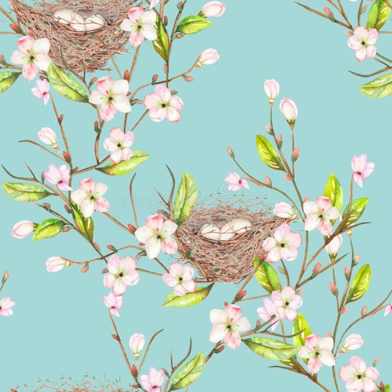 Download Le Modèle Sans Couture De L'oiseau D'aquarelle Niche Sur Les Branches Avec Des Fleurs De Ressort, Tirées Par La Main Sur Un Fond Illustration Stock - Illustration du bleu, clavette: 76078923