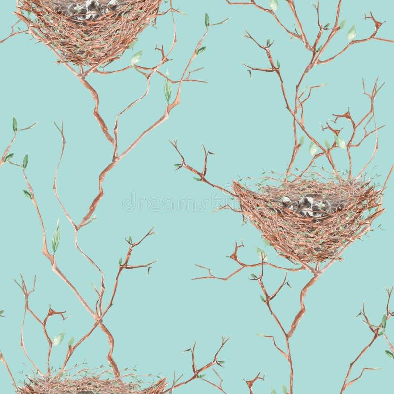 Download Le Modèle Sans Couture De L'oiseau D'aquarelle Niche Sur Les Branches D'arbre, Tirées Par La Main Sur Un Fond Bleu Illustration Stock - Illustration du mouche, plumeux: 76078922