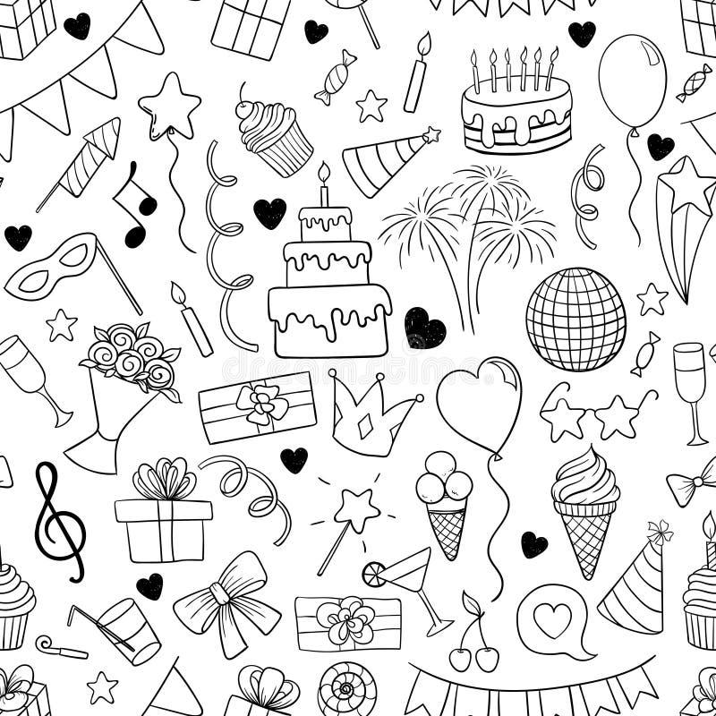 Le modèle sans couture de la bande dessinée tirée par la main de griffonnage objecte et des symboles sur la fête d'anniversaire c illustration libre de droits
