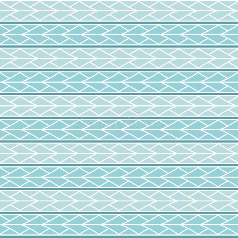 Le modèle sans couture de losange de triangles de vecteur bleu-clair ornementent maori, ethnique, Japon illustration stock