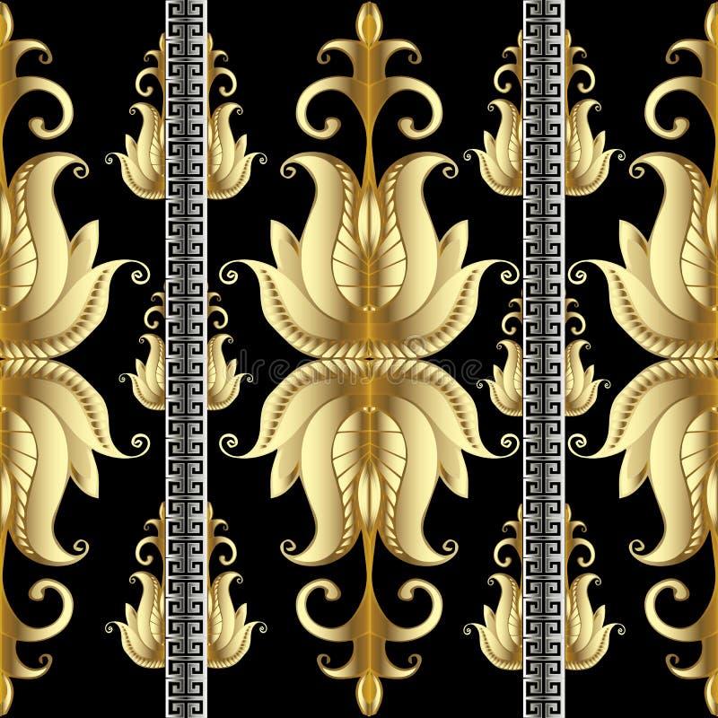 Le modèle sans couture de méandre floral rayé d'or avec de l'or 3d fleurit illustration libre de droits