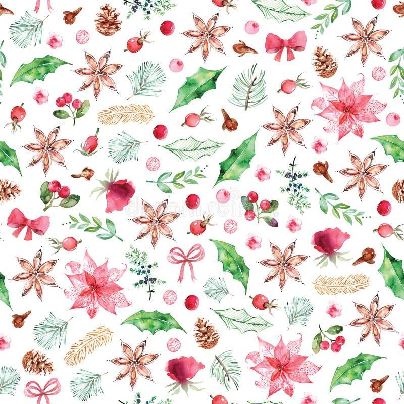 Le modèle sans couture de Noël d'aquarelle avec des épices, Noël fleurit, les roses, baies sur le fond blanc image stock