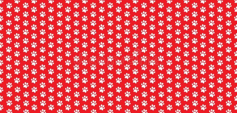 Le modèle sans couture de rectangle de la patte animale blanche imprime sur le fond rouge illustration de vecteur