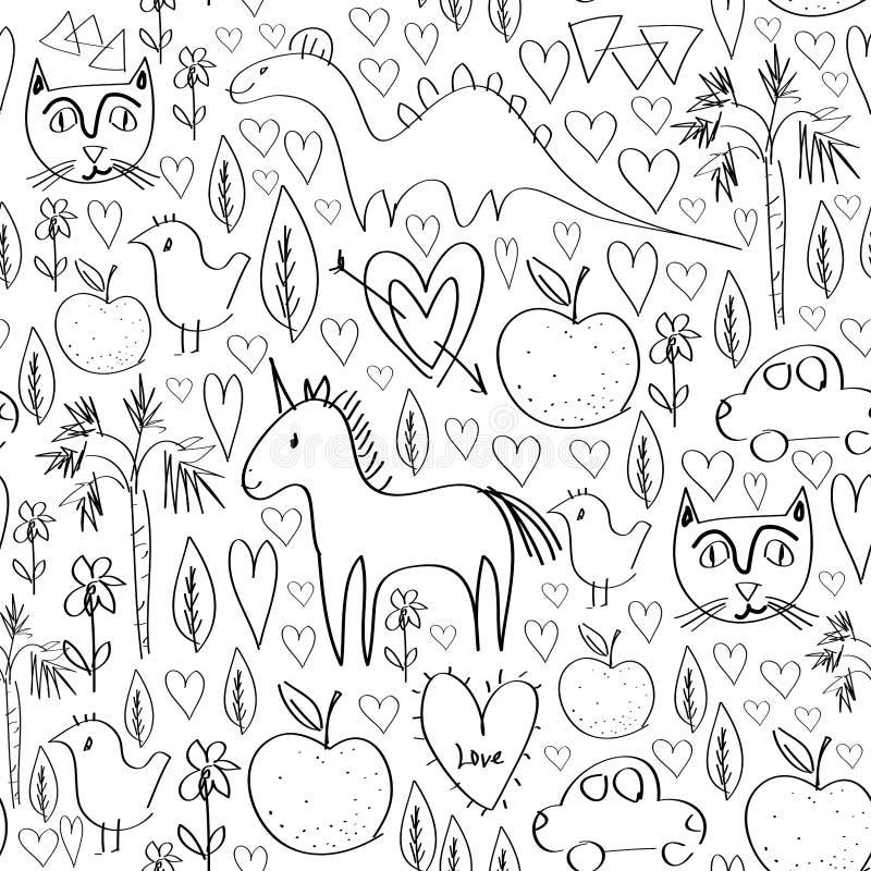 Le modèle sans couture de rose d'anniversaire de filles avec des animaux et les coeurs noircissent le contour sur le fond blanc p illustration de vecteur
