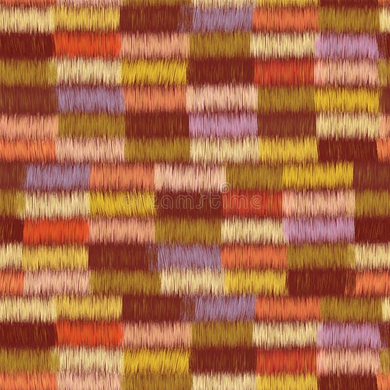 Le modèle sans couture de tissu avec des rangées de grunge coloré a barré les éléments rectangulaires illustration stock