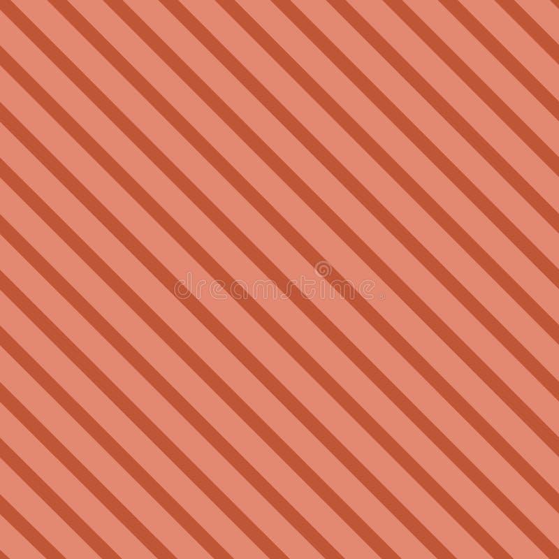 Le modèle sans couture de vecteur avec le modèle diagonal rayé a incliné des lignes couleur de corail à la mode illustration stock