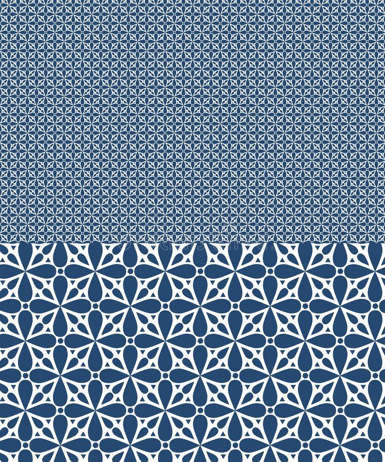 Le mod?le sans couture de vecteur bleu inspir? par des azulejos con?oivent illustration stock