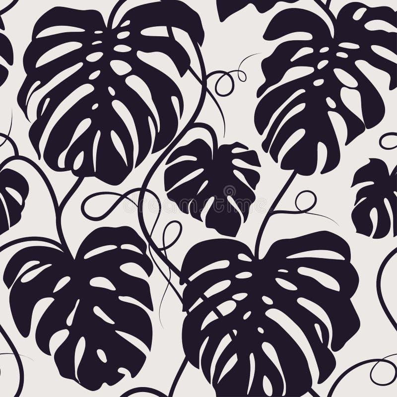 Le modèle sans couture de vecteur du monochrome part de Monstera Ornement tropical exotique de répétition illustration stock