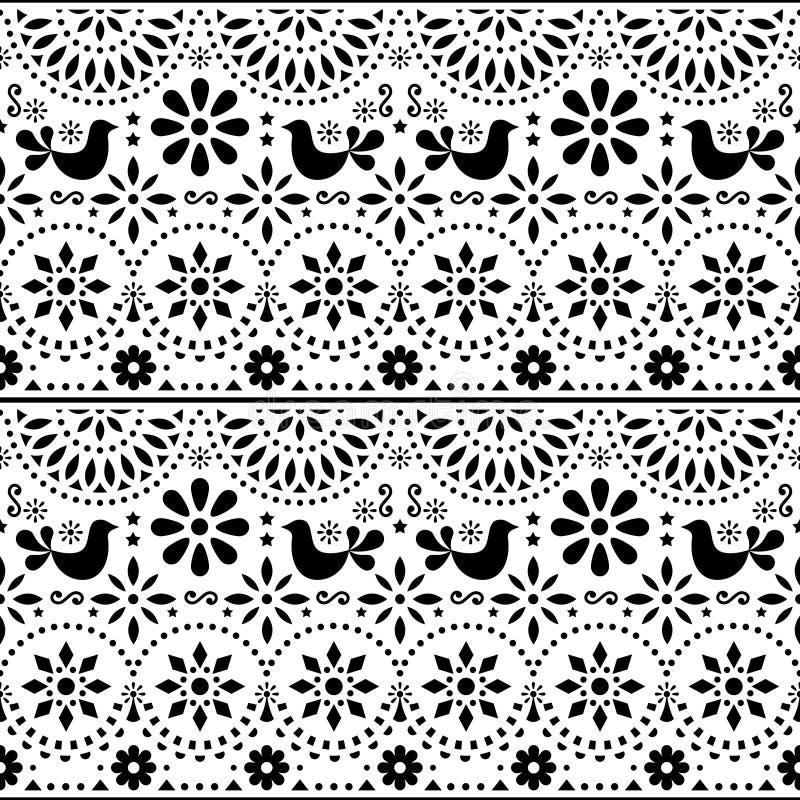 Le modèle sans couture de vecteur mexicain d'art populaire avec des oiseaux et des fleurs, conception noire et blanche de fiesta  illustration stock