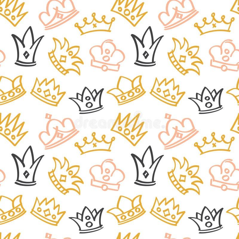 Le modèle sans couture de vecteur mignon nouveau-né de fille avec le griffonnage couronne illustration stock