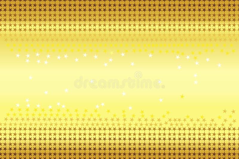 Le modèle sans couture des étoiles forme en or de couleurs d'ombrage, brun, jaune, blanc sur le fond de jaune de gradient d'or Il illustration stock
