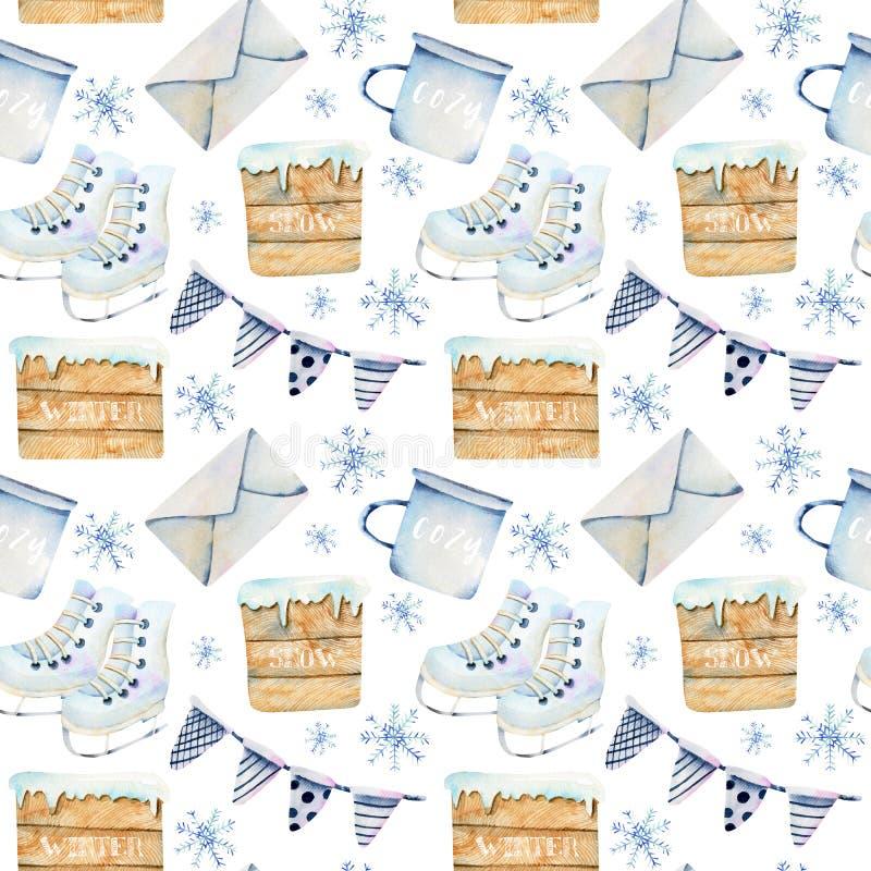 Le modèle sans couture des drapeaux scandinaves d'articles de Noël d'aquarelle, tasse, enveloppe, patine illustration de vecteur