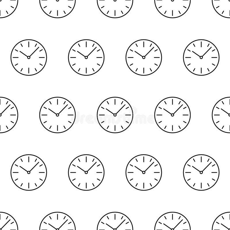 Le modèle sans couture du cadran branche la découpe de noir d'icône d'horloge illustration stock