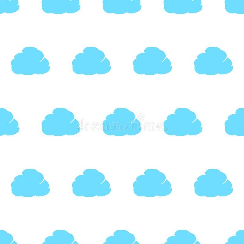 Le modèle sans couture du nuage a pensé le bleu avec l'équilibre de la défectuosité illustration stock