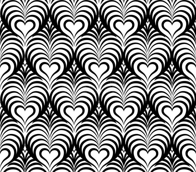 Le modèle sans couture floral abstrait avec le coeur d'amour forme illustration libre de droits