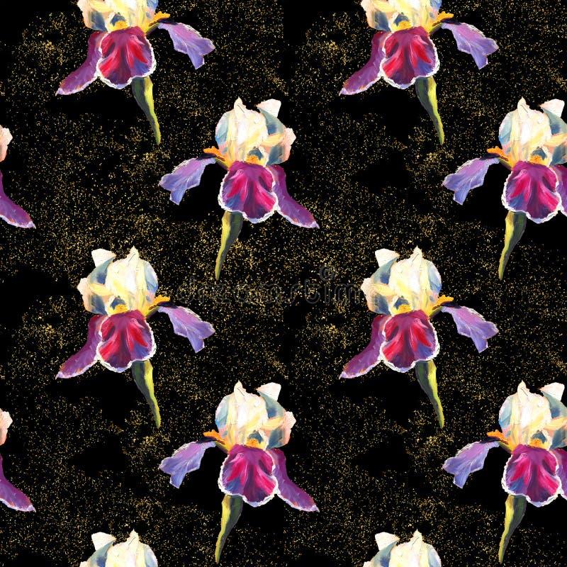 Le modèle sans couture floral avec peinture à l'huile des iris sur le fond noir avec les étincelles d'or illustration stock