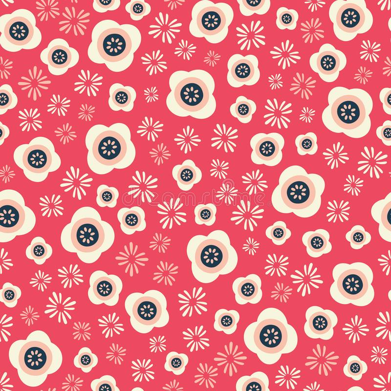 Le modèle sans couture floral de répétition, oriental a inspiré illustration stock