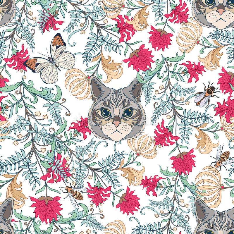 Le modèle sans couture, fond avec le style de vintage fleurit et des chats illustration libre de droits