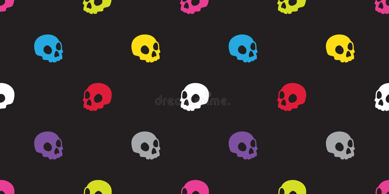 Le modèle sans couture Halloween de crâne a isolé le fond coloré de papier peint d'art de bruit d'icône squelettique de Ghost d'o illustration de vecteur