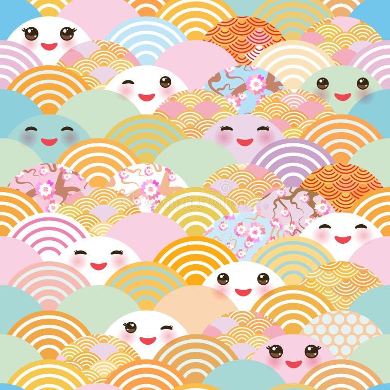Le modèle sans couture Kawaii avec les joues roses et cligner de l'oeil observe le fond simple de nature avec la fleur de Sakura  illustration libre de droits