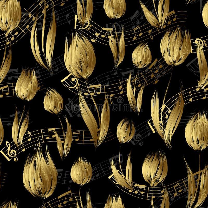 Le modèle sans couture lumineux avec de l'huile a peint les notes d'or d'extrémité de fleurs de tulipe d'or sur le fond noir illustration de vecteur