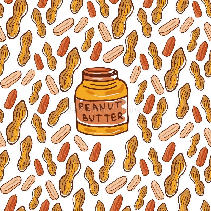 Le modèle sans couture mignon avec des arachides et le beurre cognent Fond tiré par la main nuts esquissé de vecteur Pour votre c illustration de vecteur