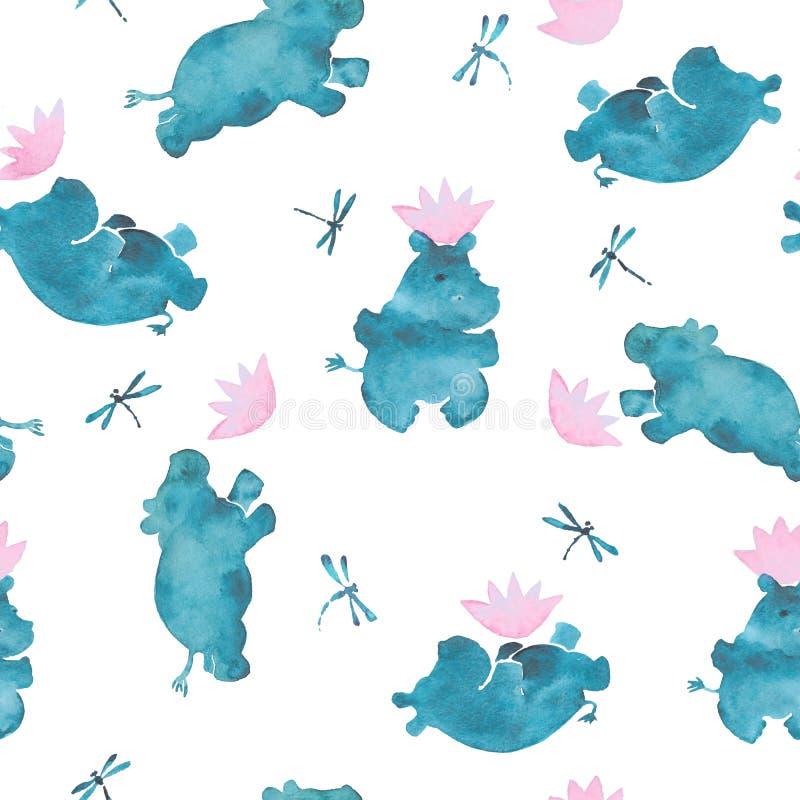 Le modèle sans couture mignon d'aquarelle rose et bleue avec des bébés d'hippopotame de style de bande dessinée jouant avec des l illustration stock