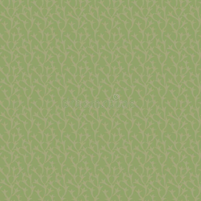 Le modèle sans couture naturel floral vert de vecteur avec la branche brun clair part du fond illustration libre de droits