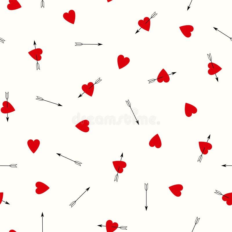 Le modèle sans couture romantique avec les coeurs rouges et les flèches noires Vecteur illustration libre de droits