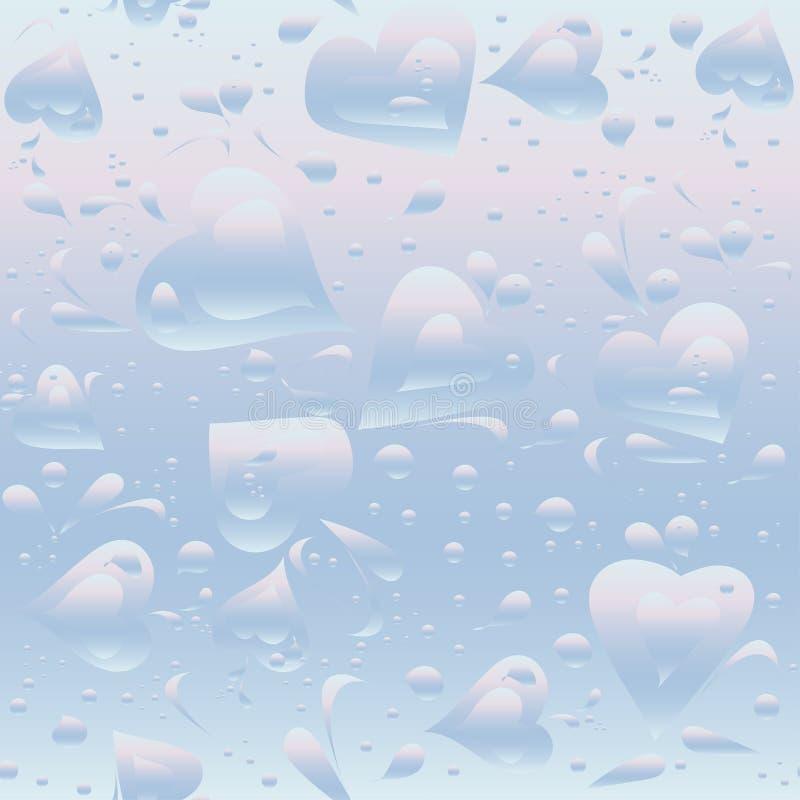 Le modèle sans couture tiré par la main avec différents coeurs, fleurs, les éléments décoratifs d'air des bulles, l'eau illustration de vecteur