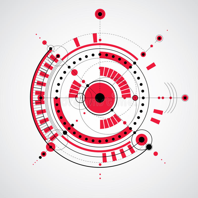 Le modèle technique, dirigent le fond numérique avec le De géométrique illustration libre de droits