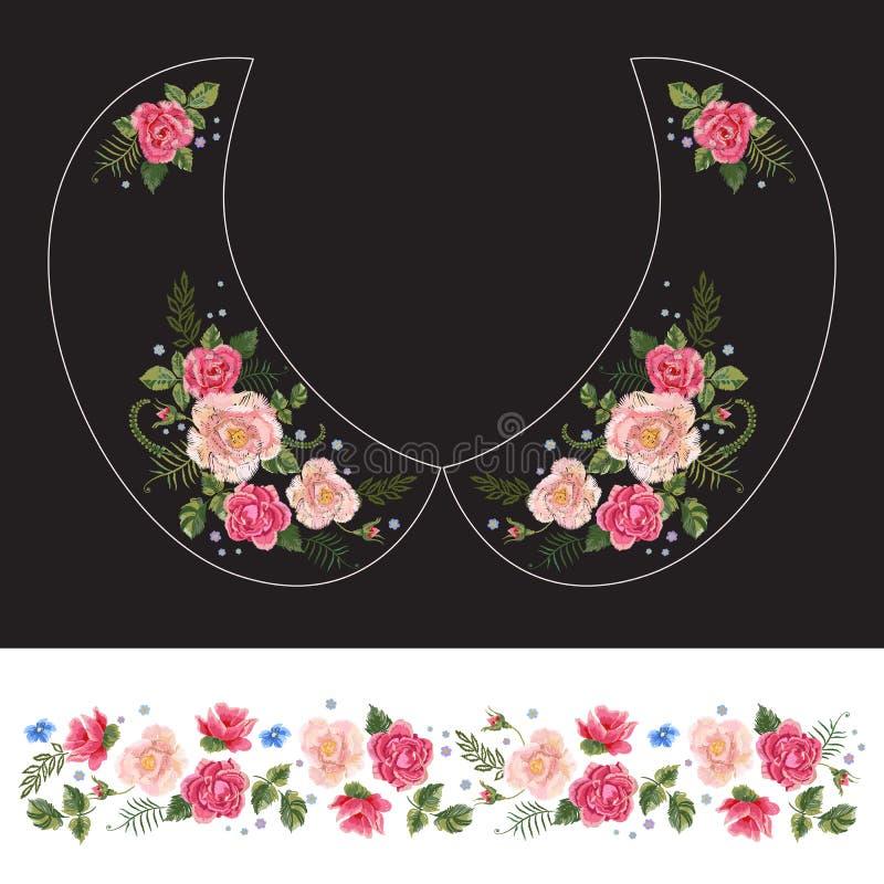 Le modèle traditionnel de cou de broderie avec les roses roses et oublient m illustration de vecteur