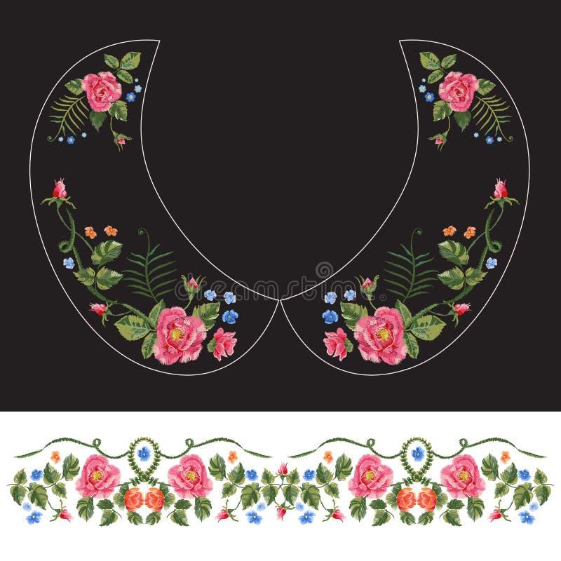 Le modèle traditionnel de cou de broderie avec les roses rouges et m'oublient illustration de vecteur