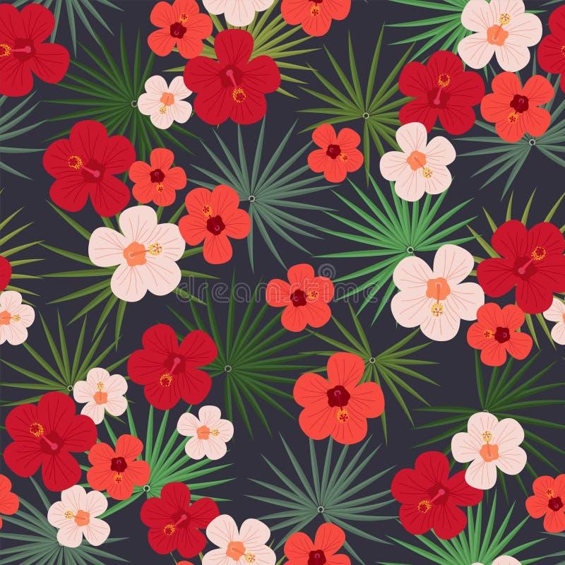 Le modèle tropical sans couture, palmettes, Chinois intelligent a monté des fleurs sur un fond noir illustration stock