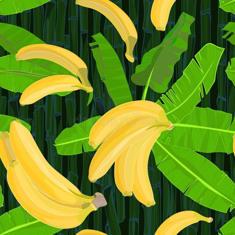 Le modèle tropical tiré par la main sans couture avec des palmettes, la feuille de jungle et la banane exotiques portent des frui illustration stock